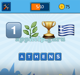 emojination emojis one leaves trophy greek flag answer game