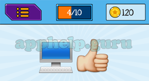 EmojiNation: Emojis Computer, Thumbs Up Answer