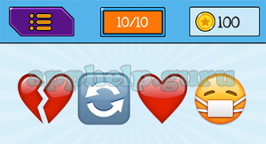 EmojiNation: Emojis Broken Heart, Repeat, Heart, Face with mask Answer