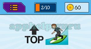 EmojiNation: Emojis Top Arrow, Surfing Answer