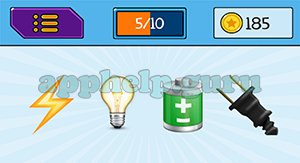 EmojiNation: Emojis Lightning, Light Bulb, Battery, Powr Plug Answer