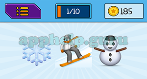 EmojiNation: Emojis Snow Flake, Snowboarder, Snowman Answer