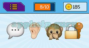 EmojiNation: Emojis Speech Bubble, Ear, Monkey, Lock Answer