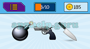 EmojiNation: Emojis Bomb, Gun, Knife Answer
