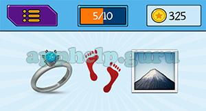 EmojiNation: Emojis Ring, Footprints, Mountain Answer