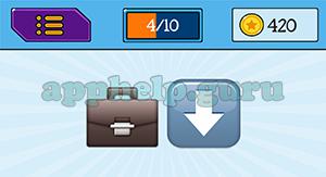 EmojiNation: Emojis Briefcase, Down Arrow Answer