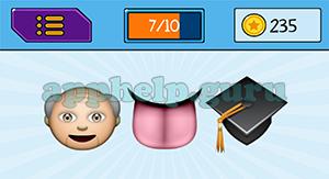 EmojiNation: Emojis Old Man, Tongue, Graduation Cap Answer
