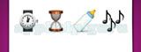 Guess The Emoji: Emojis Wrist watch, Hourglass with sand going to bottom, Baby bottle, Three music notes Answer