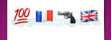 Guess The Emoji: Emojis Red 100 underlined, French flag, Handgun, British flag Answer