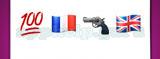 Guess The Emoji: Emojis Red 100 underlined, French flag, Handgun, British flag Answer