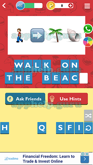 Walk On The Beach Guessup Emoji Level 46 4 Answer Help Guru