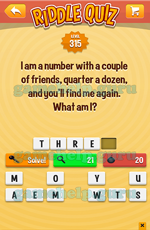 Riddle Quiz (Tappeal): Level 315 I Am A Number With A Couple