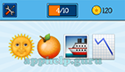 EmojiNation: Emojis Sun, Orange, Boat, Downward Chart  Answer