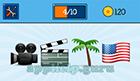 EmojiNation: Emojis Video Camera, Movie Board, Pal Tree, USA Flag  Answer