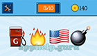 EmojiNation: Emojis Gas Pump, Fire, USA Flag, Bomb  Answer